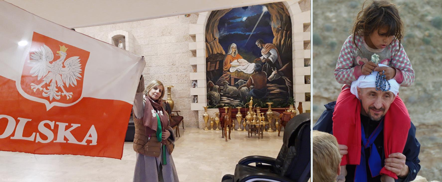Z lewej: Betlejem; Z prawej: Ojciec Bogdan Kluska, trzyma na ramionach bosą dziewczynkę z biednego plemienia Beduinów (prawdopodobnie pochodzącą z pobliskiej wioski Nomadów)